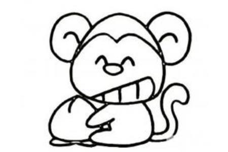 爱吃桃的猴子简笔画