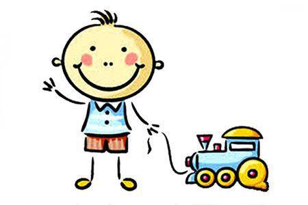 拖着玩具车的小男孩