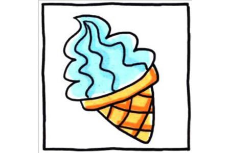 四步画出可爱简笔画 柔软蛋卷冰淇淋
