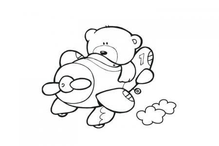 小熊开飞机-填色画图片
