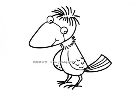 毛头小乌鸦简笔画