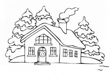 下雪天里的房屋填色画