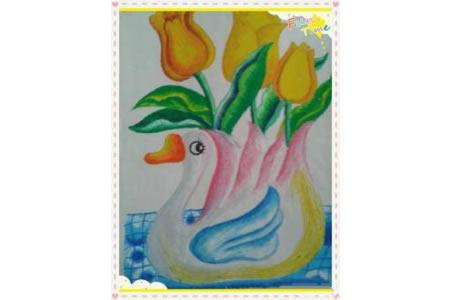 儿童画白鹅花瓶