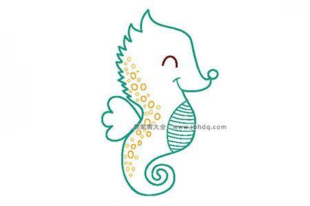 可爱的小海马简笔画图片