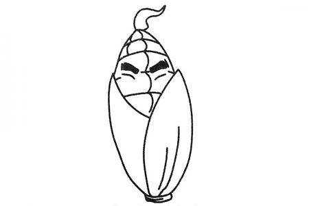 两张可爱的卡通玉米简笔画图片