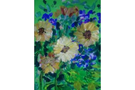 一束非洲菊,秋天的花儿童画欣赏