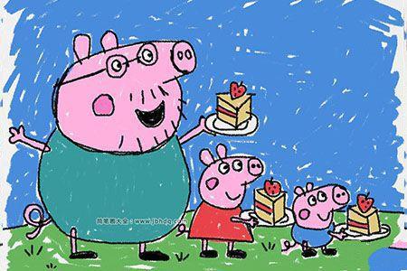 小猪佩奇之猪爸爸、佩奇和乔治吃蛋糕