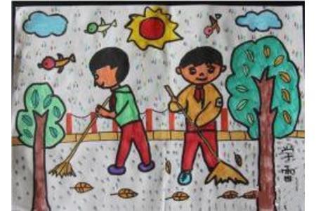 扫地的小男孩二年级学雷锋的绘画图片