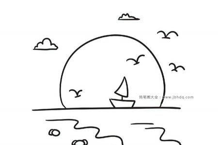 海上日出帆船