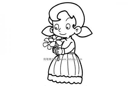 在花朵的小女孩