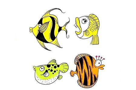 12中鱼的画法彩色简笔画