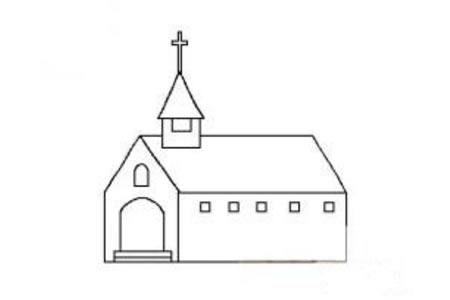 超简单教堂简笔画