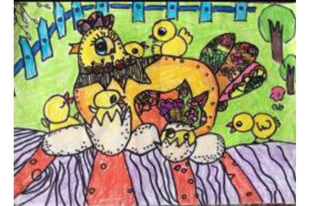 儿童画鸡妈妈孵小鸡