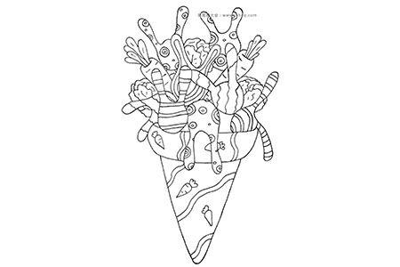 兔子冰激凌简笔画