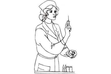 护士长给病人打针简笔画
