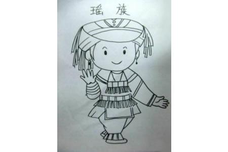 瑶族小女孩简笔画