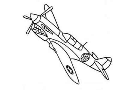飞机简笔画大全 美国P-40战斗机
