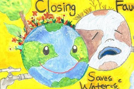 地球妈妈生病了世界地球日创意画作品合集