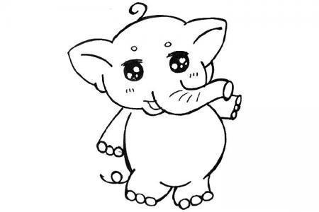 萌萌哒小象简笔画