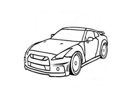 日产GTR超级跑车简笔画