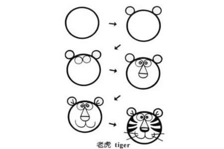 老虎和兔子简笔画