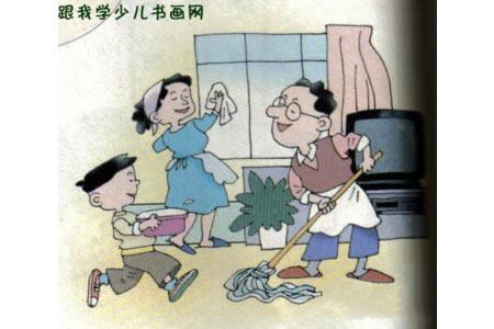 优秀儿童画--帮爸爸妈妈打扫卫生