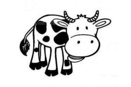 吃惊的奶牛简笔画