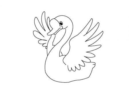 漂亮的大白天鹅简笔画