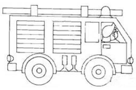 行驶中的消防车简笔画