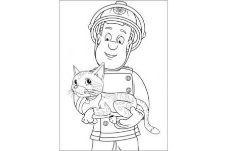 消防员山姆 人物简笔画