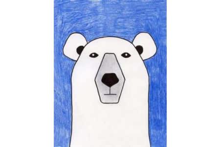 北极熊先生简单的动物画画作品欣赏