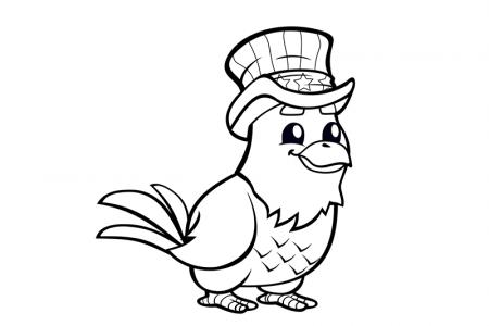 戴着魔术帽的老鹰简笔画图片
