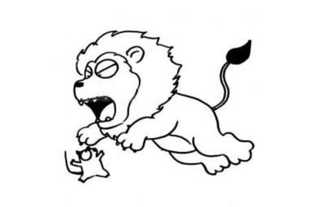 抓老鼠的狮子简笔画
