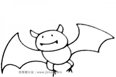 四步画出卡通蝙蝠