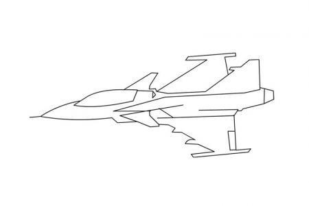 空中飞行的战斗机简笔画