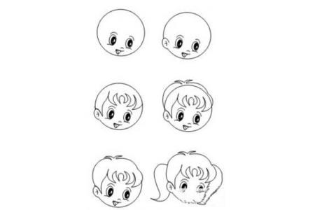 线描人物画小女孩画法