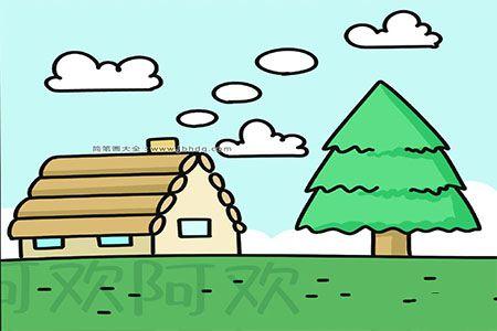 漂亮的小木屋风景简笔画