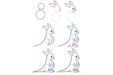 简笔画教程 袋鼠妈妈简笔画步骤图