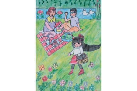小女孩和爸爸妈妈去野餐蜡笔画图片大全