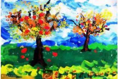 丰收的苹果树,丰收的秋天儿童画