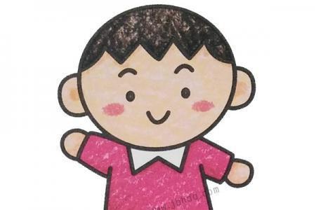 幼儿学画帅气的小男孩