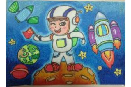 去太空旅行的日子,国庆节日儿童画作品大全