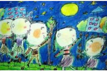 中秋节的月饼儿童画-月明明饼圆圆