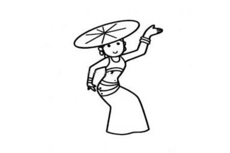 傣族小女孩简笔画图片