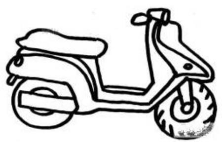 简单的踏板摩托车简笔画