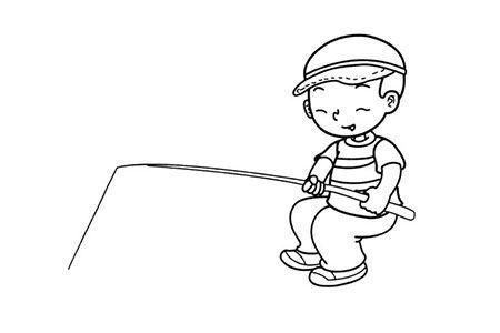 钓鱼的小男孩