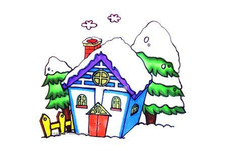 画漂亮的雪中小屋