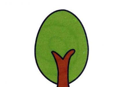 涂色简笔画一棵小树
