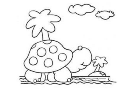 海边的乌龟简笔画图片