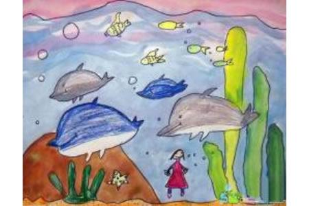 去海洋馆看海豚暑假生活主题画分享